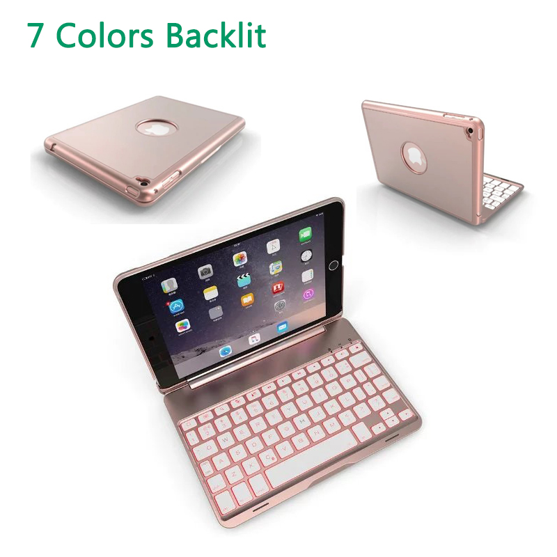 7 Colors LED Backlit Case Wireless Bluetooth Keyboard Protective Cover for iPad Mini 2/3/4 Smart Stand Case for iPad mini 4