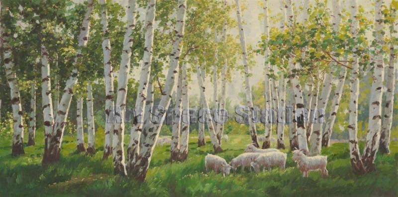 pas de cadre grand paysage peinture l 39 huile impressionniste blanc bouleau moutons l 39 image de l. Black Bedroom Furniture Sets. Home Design Ideas