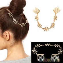 Hot Womens Hot Fashion Unique Gold Tone Leaves Chain Fringe Hair Comb Cuff Head Band 7EFA