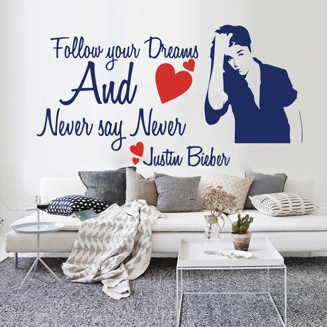 never say never quote wall sticker bedroom kids room follow your