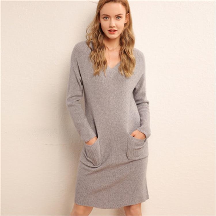 cashmere wool blend knit women fashion Vneck irregular hem pullover sweater dress beige 4color S 2XL retail wholesale - 3