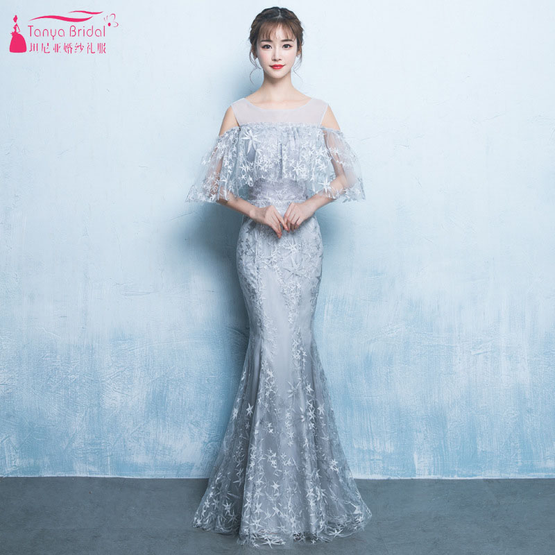 Evening Dresses Qualified Lace Mermaid Evening Dresses Silver Sheer Neck Floor Length Prom Gowns With Elegant Cape Maid Of Honor Gowns Ze051