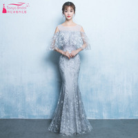 Lace Mermaid Evening Dresses Silver Sheer Neck Floor Length Prom Gowns With Elegant Cape Maid Of Honor Gowns ZE051