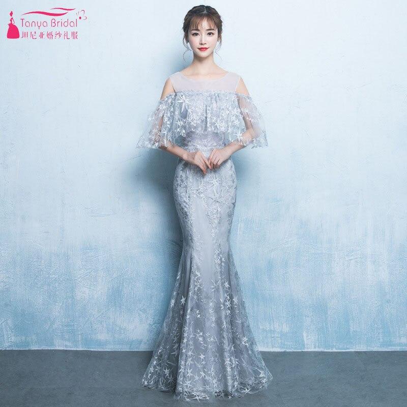 Robes de soirée en dentelle sirène argent cou transparent longueur de plancher robes de bal avec élégante Cape robe de demoiselle d'honneur ZE051