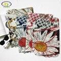 1 UNID 180*100 CM 2017 Primavera Nuevo Estilo de Corea Del Diseño de Acrílico Algodón mujer Larga de La Bufanda Delgada Mujer Nueva Gasa Con Mantón Floral Pashmina