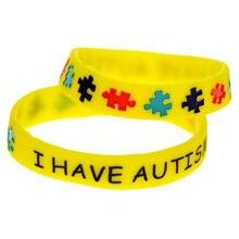 1pc eu tenho pulseira de silicone do autismo com quebra-cabeça para o tamanho exterior da criança