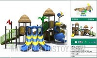 Premium Quality Shipped to Poland Park Playground With Colorful Triple Slide&Visible Spiral Tunnel Slide HZ 81711D