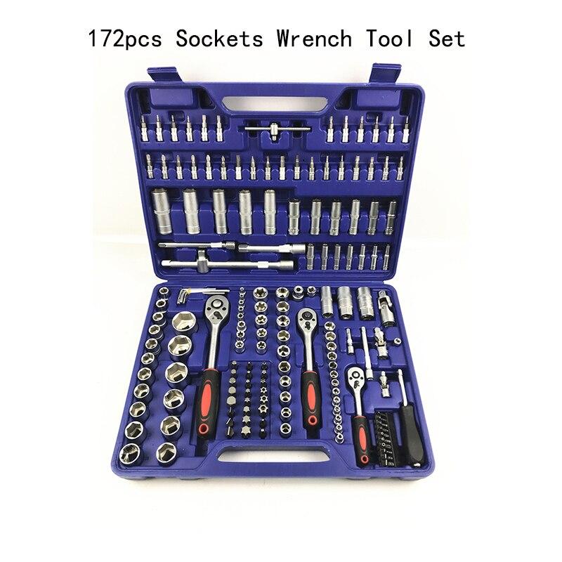 172 шт., набор ручных инструментов, домашний набор ручных инструментов с пластиковым ящиком для инструментов, чехол для хранения торцевого кл
