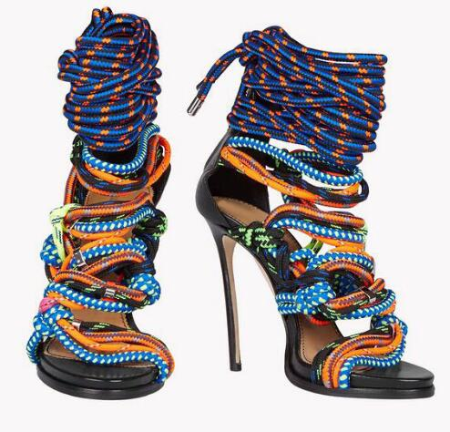 2016 summer newest multi-color rope cross tied high heel sandals stiletto heel colorful lace up fastening party shoes plus size [expensive] supply truck rather tight rope tensioner tied up with tight rope tied with wholesale