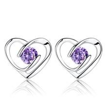 цена Promotion 925 sterling silver romantic love heart shiny crystal ladies`stud earrings jewelry female birthday gift Anti allergy в интернет-магазинах