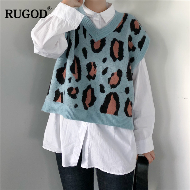 RUGOD 2019 Vintage Leopard Women Sweaters Vest Fashion V-Neck Women Pullovers Knitted Women Tops Sueter Mujer Invierno 2019