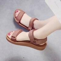 Women Sandals Slip On Elastic Band Peep Toe Female Summer Shoes Platform Flat Roman Sandals Ladies Comfortable Footwear NVLX1