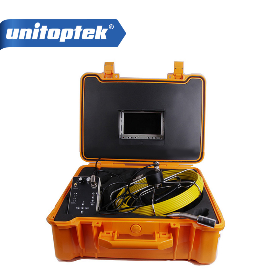 20m Cable Underwater Duct Cleaning Pipe Wall Sewer Inspection Camera System 7 LCD Monitor With DVR Function Max 32GB Card image