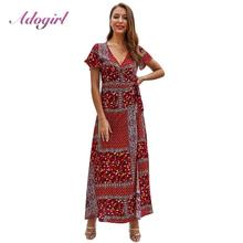 Elegant Summer Floral Print Boho Beach Wrap Long Dress Women Casual Short Sleeve V Neck Evening Party Club Dresses Sexy Vestidos цена