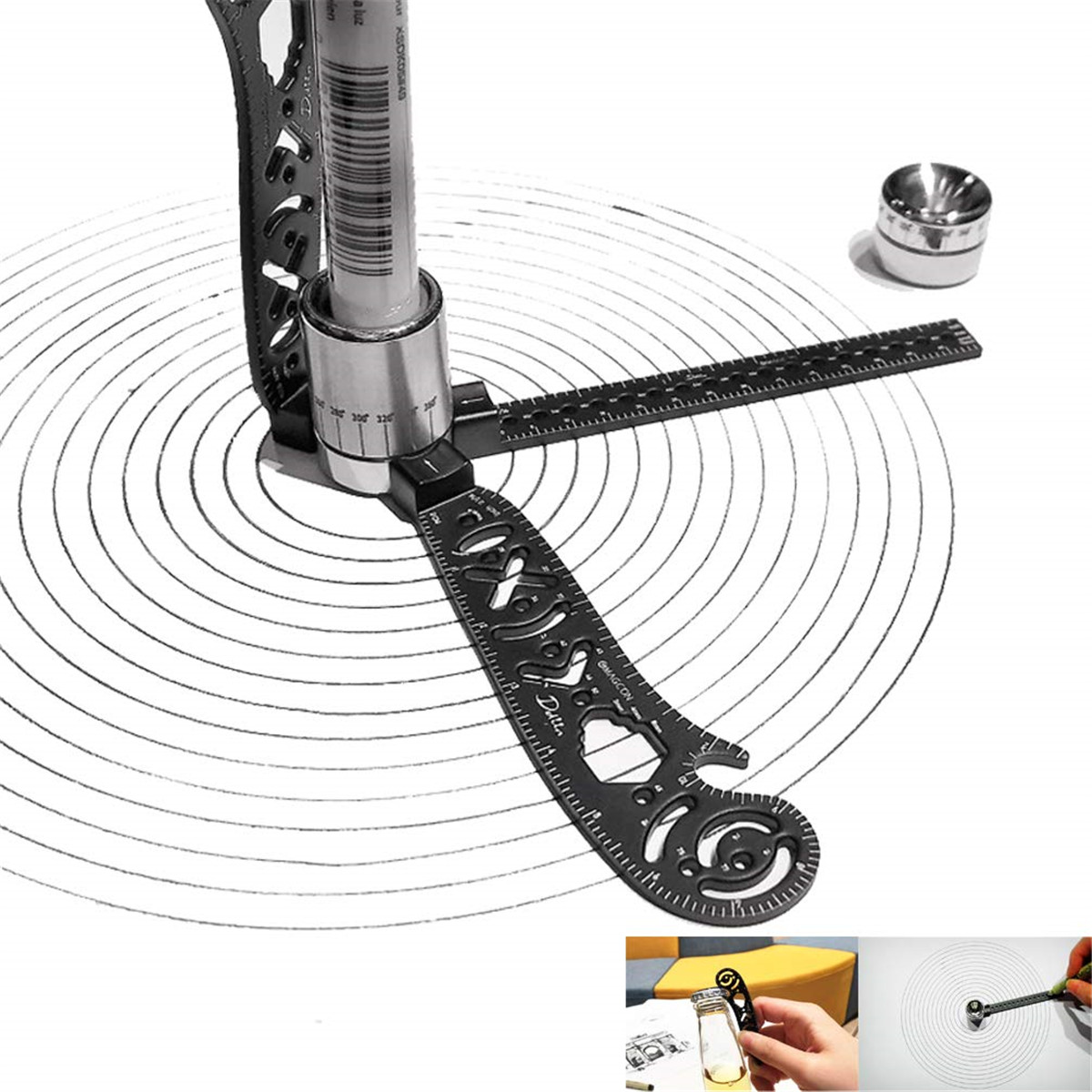 Drawl Tool Design Drawing Curved Metallic Multi-function Ruler Mini Protractor Combo-Circles Drawing Patterns For Office Artists