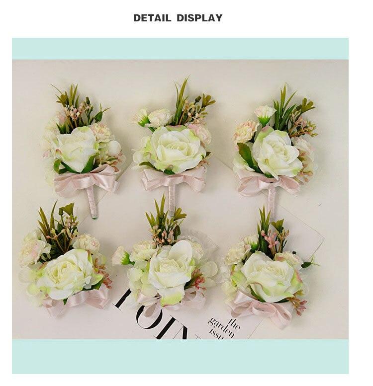 bridesmaid bracelet wedding corsage flowers roses artificial  (12)