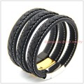 "8.26""*12mm 30g New 316L Stainless Steel Silver/Gold Magnetic Clasp Genuine Leather Black Brown Mens Womens Bracelet Bangle Top"