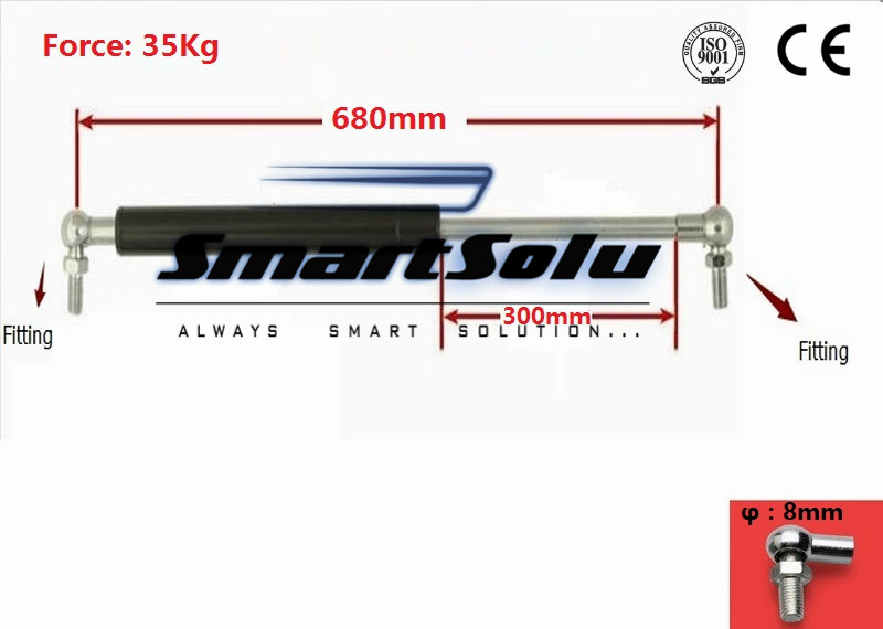 Free Shipping 680mm Long 35kg Force 10mm Dia Rod  Gas Spring Support Strut gas strut spring replacemens 28kg force lift support rod 12 6