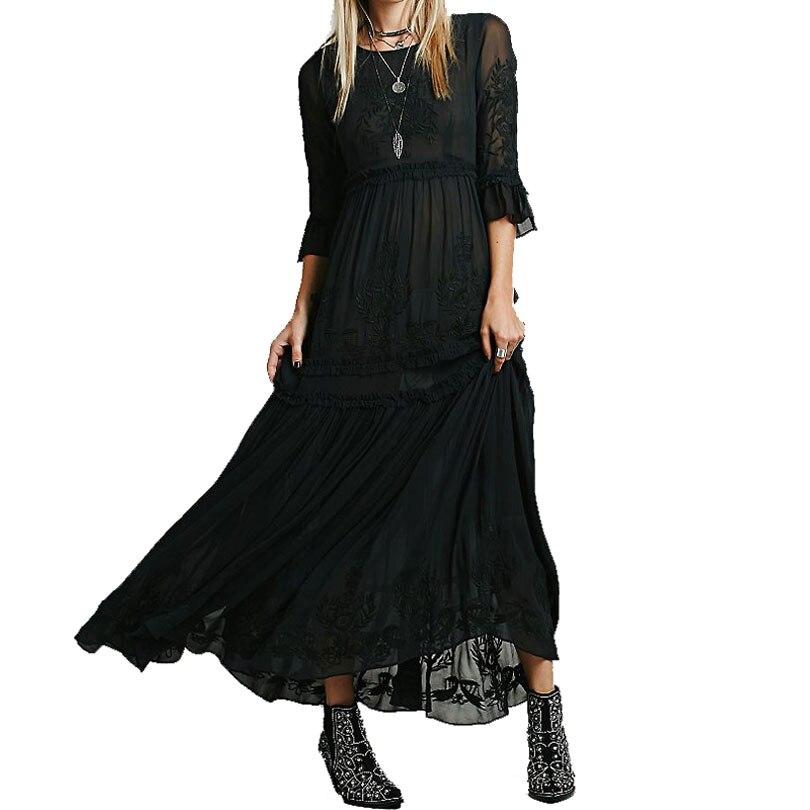 Luckeytimes Bohemia Vezenje Bijela haljina Žene Crne ogrlice - Ženska odjeća - Foto 2