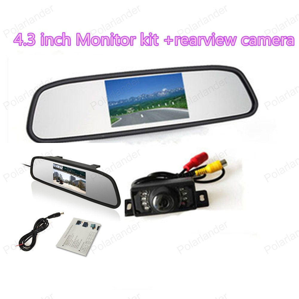 4.3 inch Color LCD Car Monitor with 2 VA input auto switching video + reverse parking camera ir night vision