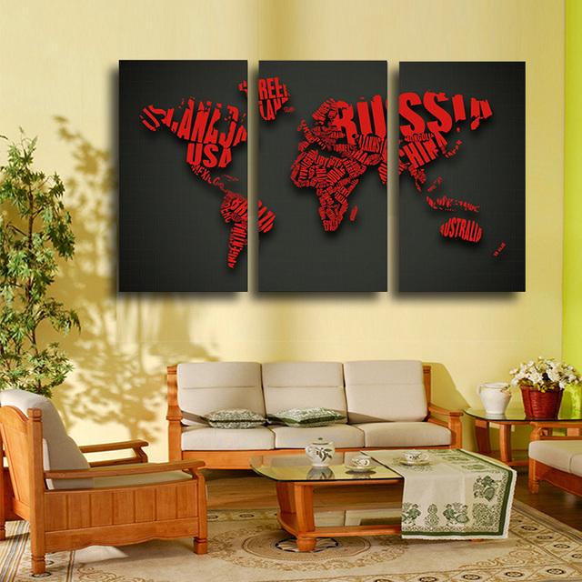 3 PCS Large HD Wall Paintings Wedding Picture Words Map Decorative ...