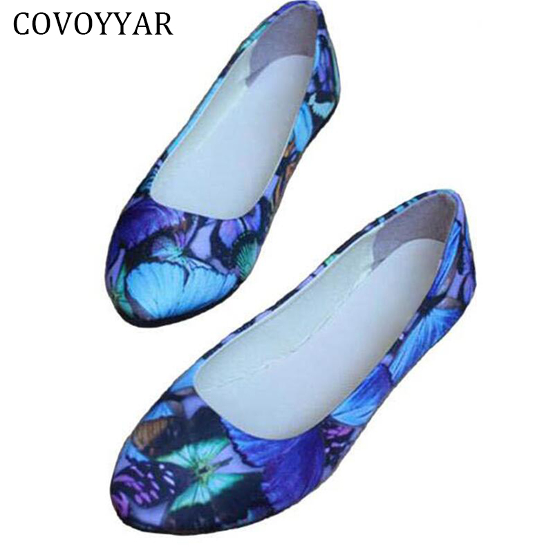 2018 Comfort Print Flowers Women's Flats PU Leather Pointed Toe Women Shoes Fashion Slip On Casual Shoes Big Sizes 35-42 WFS560 2017 summer new fashion sexy lace ladies flats shoes womens pointed toe shallow flats shoes black slip on casual loafers t033109
