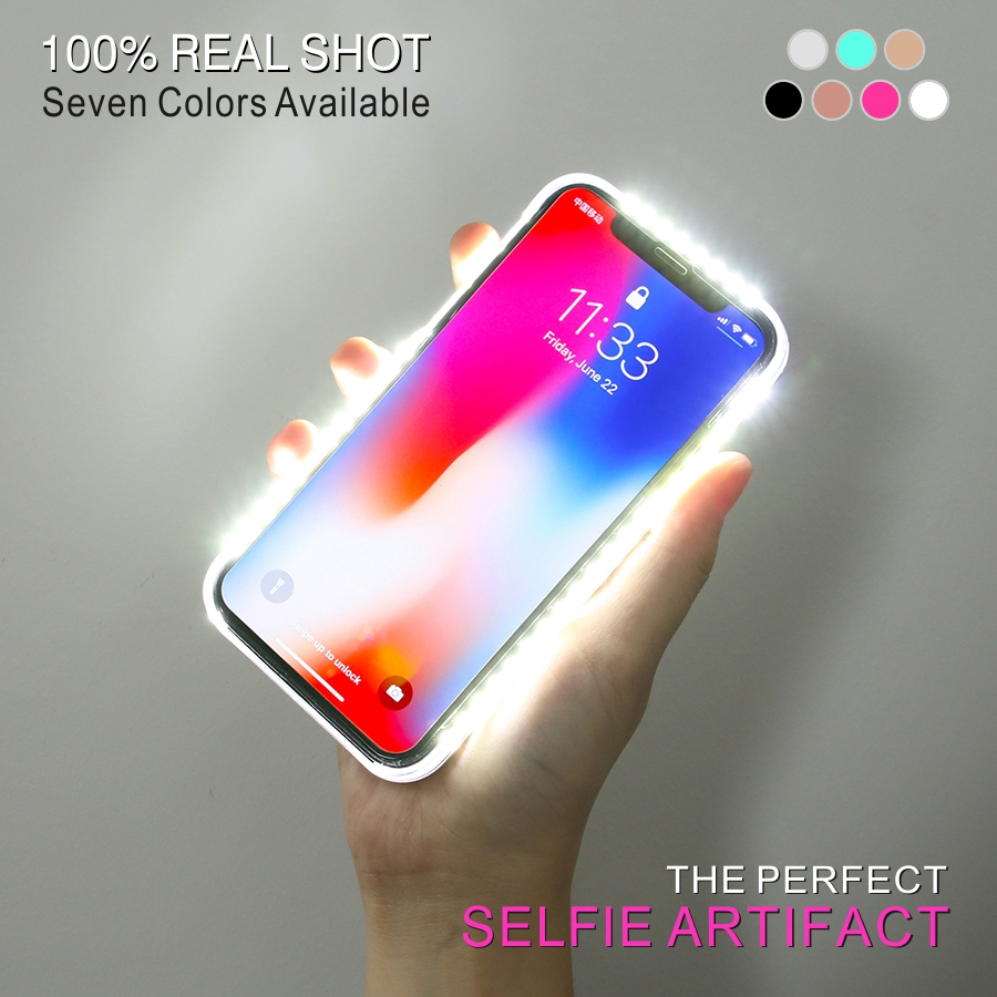 LED Flash Phone Case For iPhone5S 6S 7Plus 8 For iPhoneX Selfie Artifact Fill Light Up Glowing Shell Cover For Apple Funda Coque