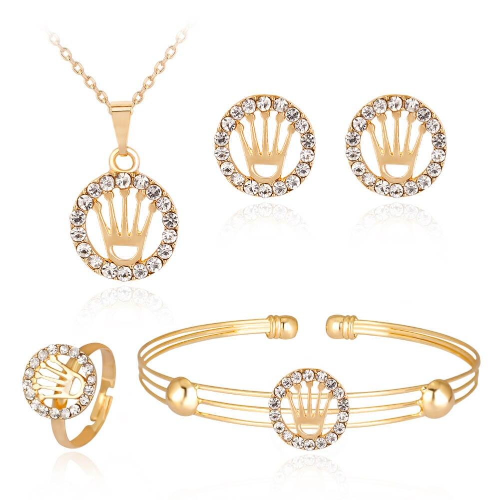 Terbaru Warna Emas Mewah Kristal Pengantin Mahkota Liontin ...