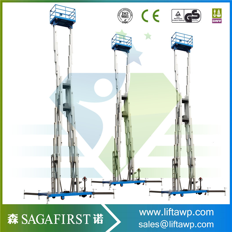 14m Lifting Height Hydraulic Double Mast Man Lift For Maintance