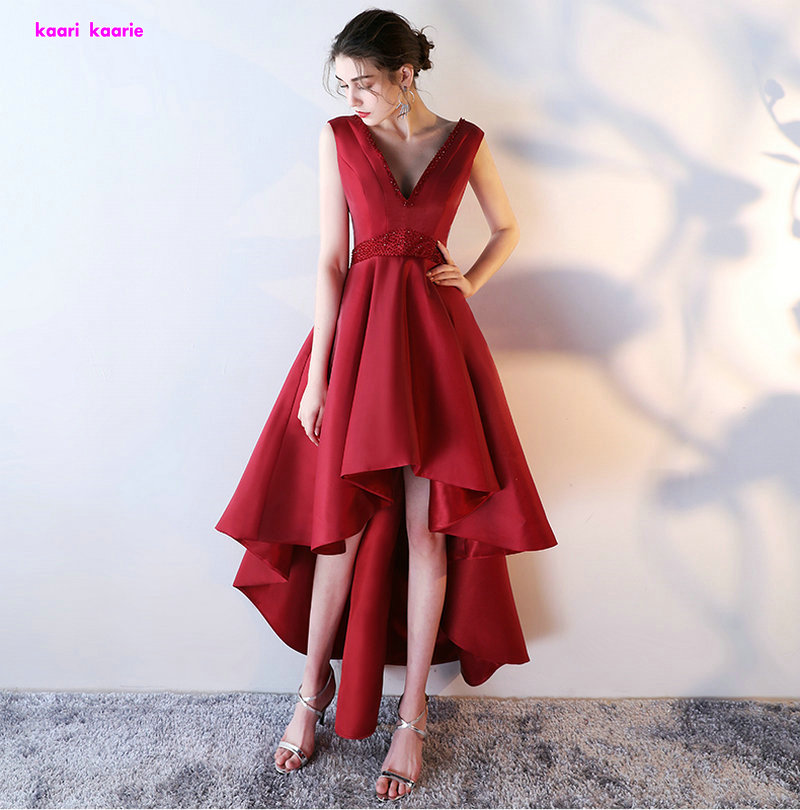 Fashion Burgundy Plus Size Prom Dresses 2018 Sexy V-Neck Red Satin Crysta Beading Lace-Up  Prom Gowns Short Evening Party Dress