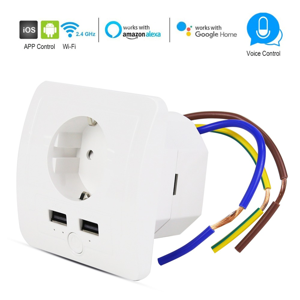 wifi Smart Wall EU outlet With 2 USB Ports 15A timer switch Control Socket voice control Works with Alexa Google android and iOS