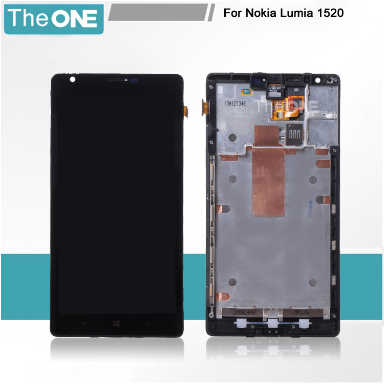 LCD Display Touch Screen Digitizer + Back Frame Bezel Assembly For Nokia Lumia 1520 Free Shipping black lcd display touch screen digitizer assembly with bezel frame for nokia lumia 1520 replacements part free shipping