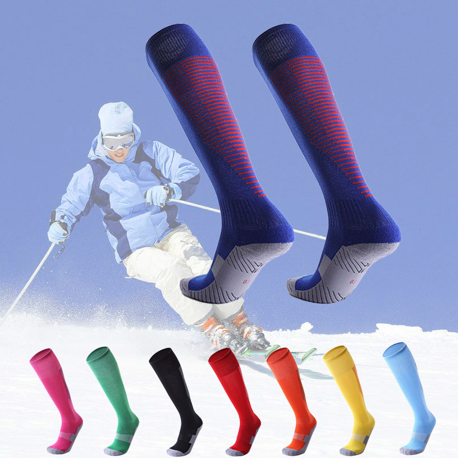 Professional Winter Sports Skiing Socks Men Women Thermal Ski Long Sock Outdoor MTB Cycling Running Football Stockings Black Red(China)