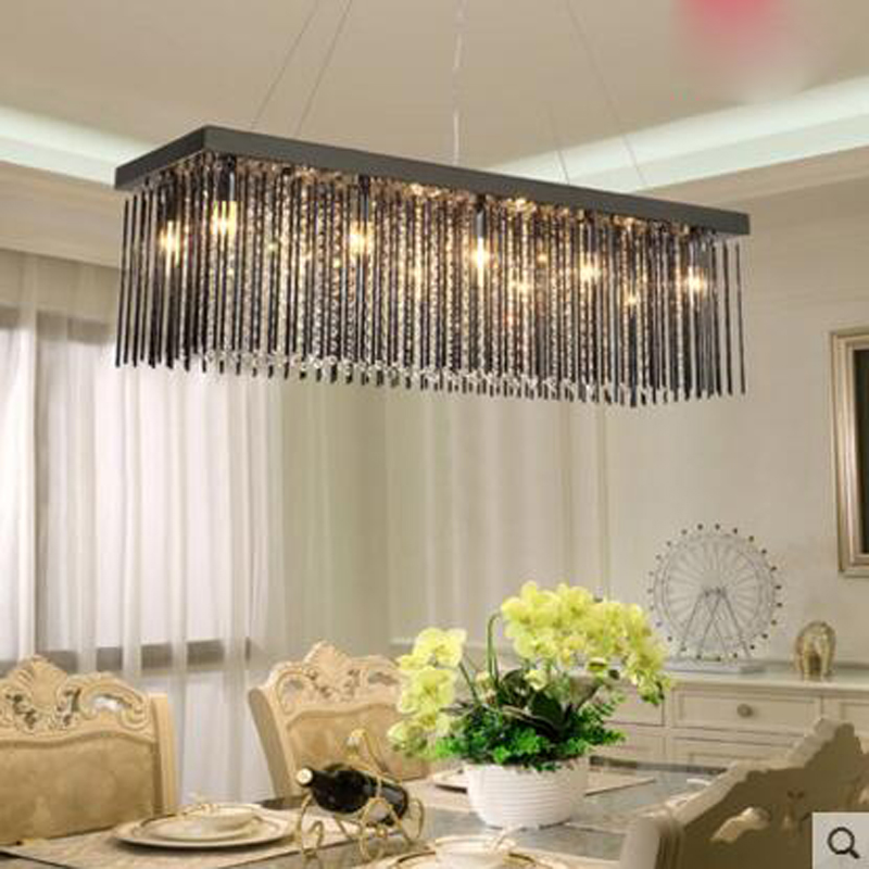 Crystal Lamp Rectangular Dining Room Chandelier Three Heads Table Led Modern