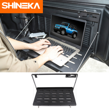 SHINEKA Rear Racks for Jeep Wrangler JL 2018 Metal Car Tailgate Trunk Door Shelf Storage Rack for Jeep JL Wrangler Accessories shineka car sticker for jeep wrangler jl accessories rearview mirror carbon fiber chrome decoration sticker for wrangler 2018