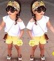 ST125 2017 moda menina roupas define camisa + calças curtas meninas bonito conjunto roupa das crianças set crianças define varejo