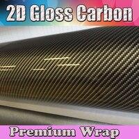 Глянцевая 2D Золотая наклейка под Углеволокно автомобиля углеродного волокна виниловая наклейка фольга рулон с выпуском воздуха для автомо