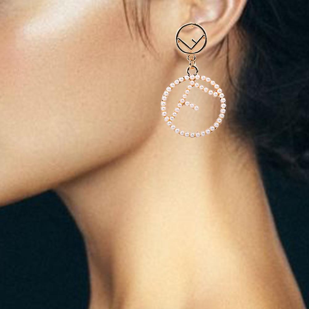 Korean New Fashion Personality English Letter Circle Statement Drop Earrings For Women Trendy Ear Jewelry Oorbellen Femme Brinco in Drop Earrings from Jewelry Accessories