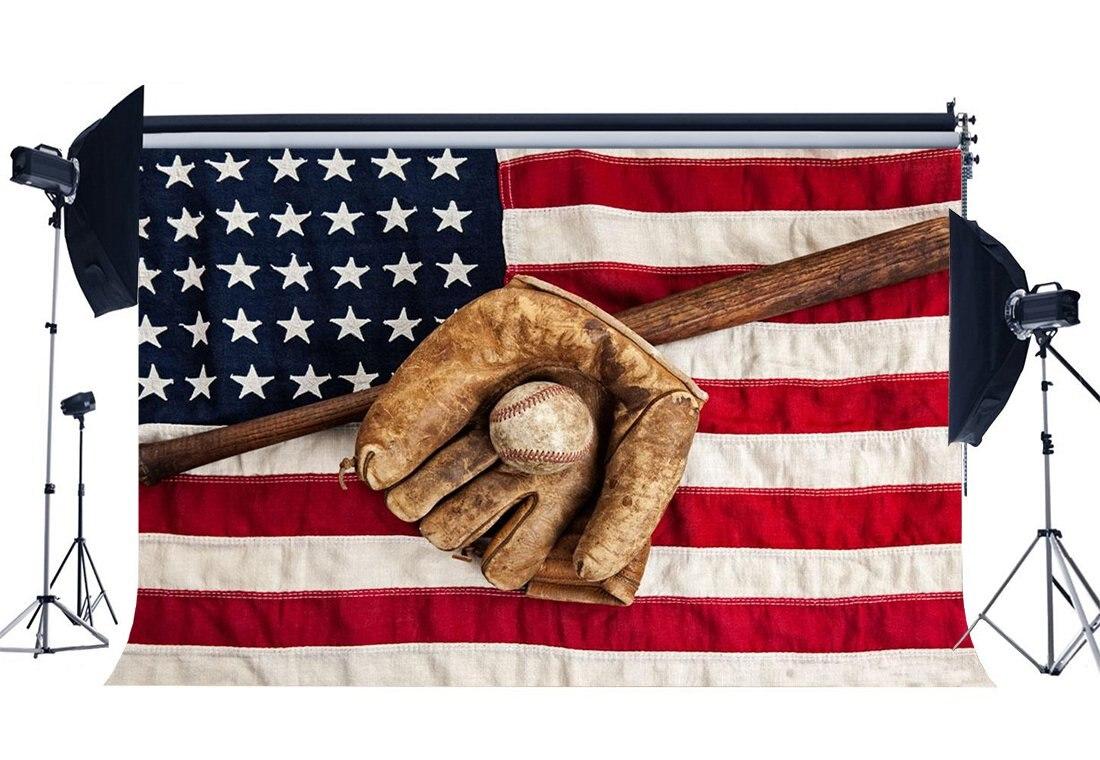 Бейсбольный Фон Гранж бейсбольная перчатка на американском флаге фоны звезды и полосы Спортивный Матч фотография фон-in Аксессуары для фотостудии from Бытовая электроника