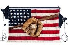 Fondo de béisbol Grunge guante de béisbol en la bandera americana fondos estrellas y rayas deportes partido fotografía fondo