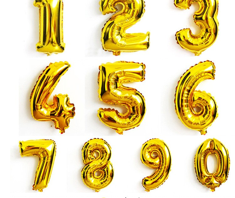 16inch 40cm Gold Number Balloon Aluminum Foil Helium Balloons children Birthday Party Decoration Celebration Supply in Ballons Accessories from Home Garden