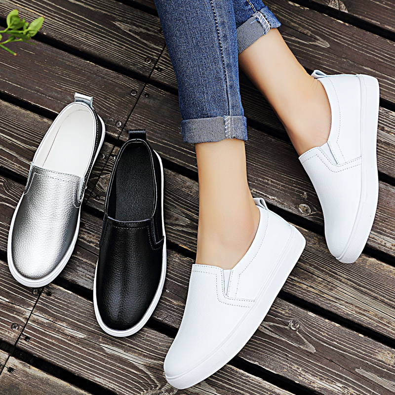 Verano Y Casuales Slip 35 Color Genuino Black Plata silver on Cuero Mujer Primavera Planos white Zapatos Transpirables 42 Sólido Mocasines De ca0q6wCza