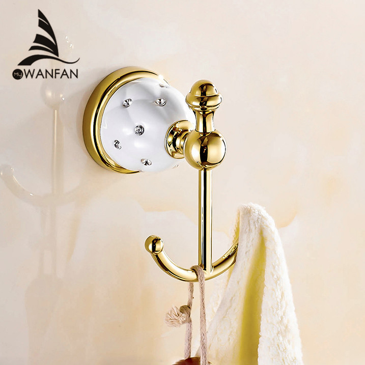 New Design Robe Hook Clothes Hook Solid Brass Construction Golden Finish Bath Hardware Accessory