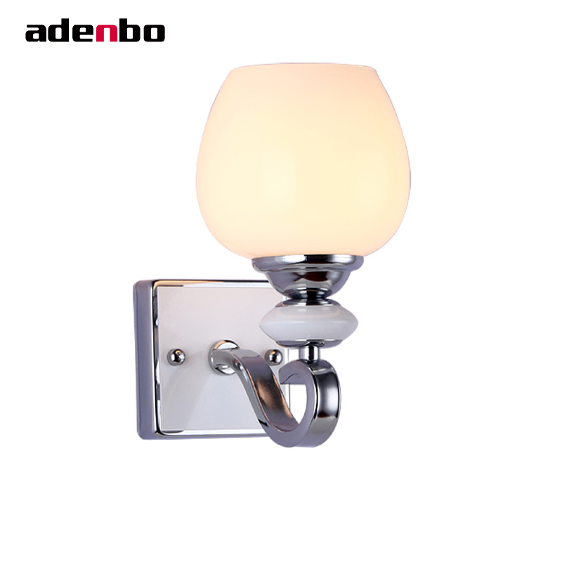 Modern Chrome Color Wall Lamp Lighting Wall Mounted Hallway Lights Bedside Home Lighting Wall Sconces With Glass Shade