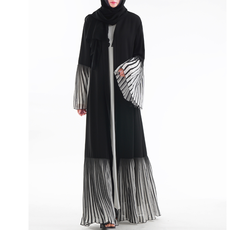New UAE Abaya Dubai Kaftan Malaysia Pleated Striped Kimono Cardigan Muslim Hijab Dress Women Robe Dubai Turkish Islamic Clothing