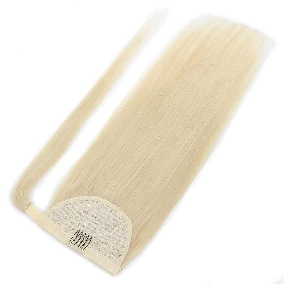 """ALI SCHÖNHEIT 100g 120g Menschliches Haar Clip In Haar Extensions Remy Brasilianische Gerade Natürliche Haar 24"""" wrap Um Pferdeschwanz"""