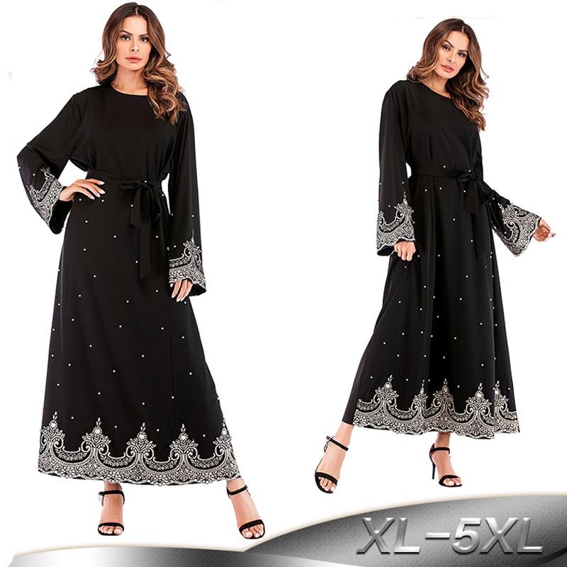 2019 Pearls Kaftan Abaya Dubai Turkish Islamic Muslim Hijab Dress Abayas For Women Qatar UAE Jilbab Robe Elbise Caftan Clothing