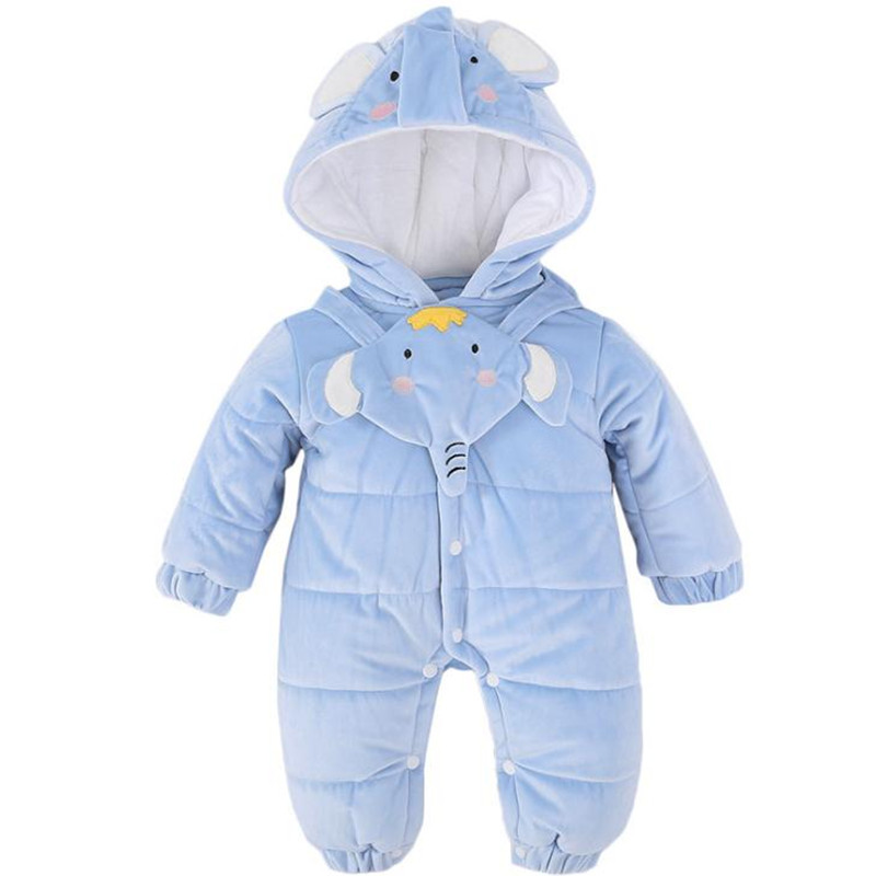 Blue Animal Winter Clothes Tiny Cotton Jumpsuit Baby 3-12 Months Elephant Baby ClothingBlue Animal Winter Clothes Tiny Cotton Jumpsuit Baby 3-12 Months Elephant Baby Clothing