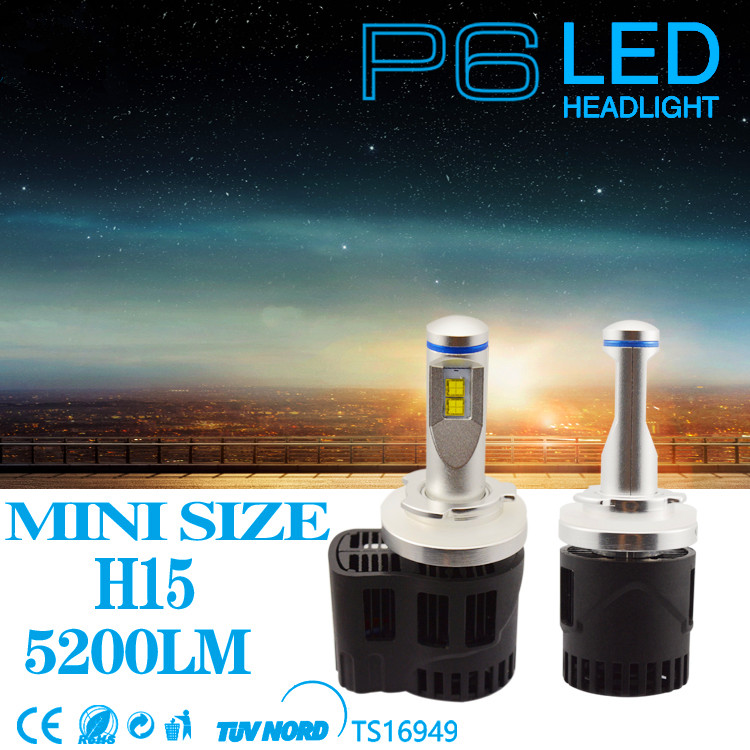 2PCS H15 LED Canbus 10400Lm 110W MZ LEDs Car Bulb Auto Lamp Headlight Daytime Running Driving Light Headlights Conversion Kits new arrival canbus p6 car led head lamp conversion kit bulb 4500lm 2 9000lm led headlight super bright 45w 2 90w car styling