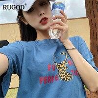 RUGOD Letter print women t shirt short sleeves loose o neck long casual fashion harajuku style summer tees modis femme tops